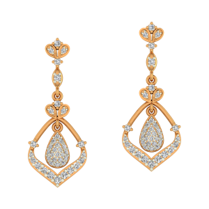 Whimsical Drops Gold Diamond Earrings