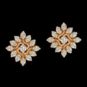 Floral Flaunt Gold Diamond Earrings
