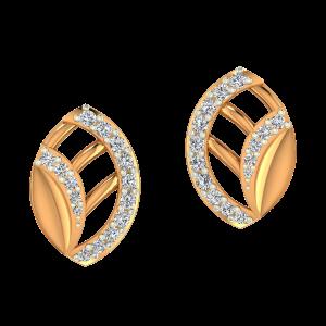 Leafy Lines Gold Diamond Earrings
