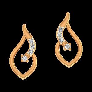 Drop Style Gold Diamond Earrings