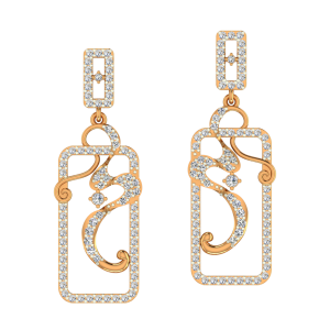 Modern Swirls Gold Diamond Earrings