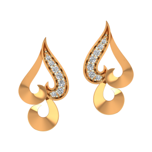Quirky Hearts Gold Diamond Earrings