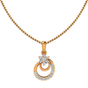 Floral Rhyme Gold Diamond Pendant