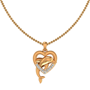 Happy Dolphin Gold Diamond Pendant