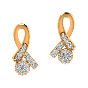 The Floral Clasp Gold Diamond Earrings