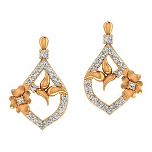 The Floral Feast Gold Diamond Floral Earrings