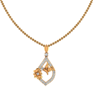 The Floral Portrait Gold Diamond Floral Pendant