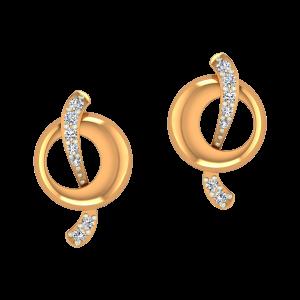 The Wave Show Gold Diamond Stud Earrings