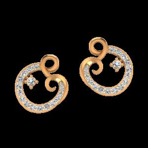 Twist & Style Gold Diamond Stud Earrings