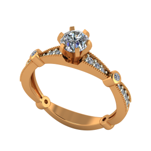The Solitaire Plaids Gold Diamond Ring