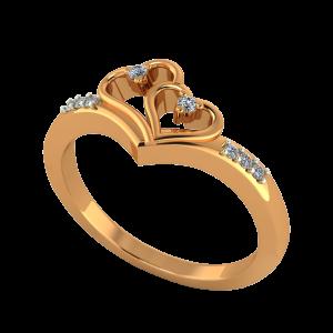 The Pretty Hearts Gold Diamond Heart Ring