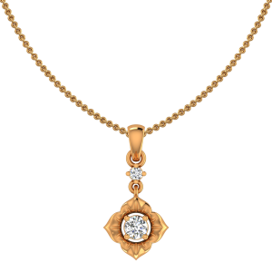Floral Poise Gold Diamond Pendant