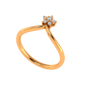 A Floral Step Gold Diamond Ring