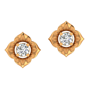 Floral Poise Gold Diamond Stud Earrings
