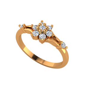 The Floral Pose Gold Diamond Ring