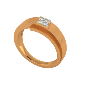 The Graceful Square Gold Diamond Ring
