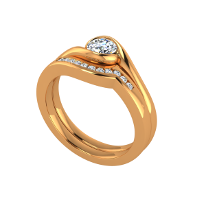 The Solitaire Folds Gold Diamond Solitaire Ring