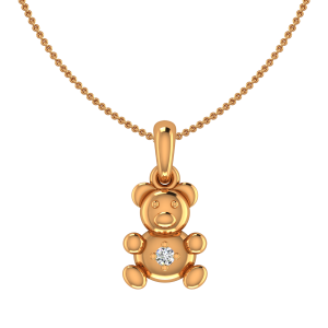 The Tidy Teddy Gold Diamond Kids Pendant
