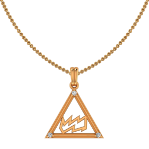 Aquarius Zodiac Sun Sign Gold Diamond Pendant