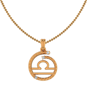 Libra Zodiac Sun Sign Gold Diamond Pendant