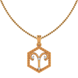 Aries Zodiac Sun Sign Gold Diamond Pendant