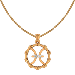 Pisces Zodiac Sun Sign Gold Diamond Pendant