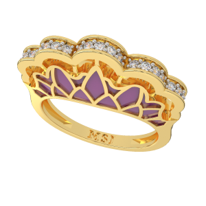 Pretty In Pink Gold Diamond Ring With Enamel