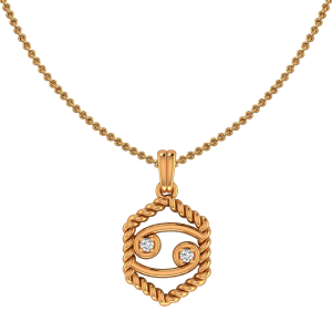 Cancer Zodiac Sun Sign Gold Diamond Pendant