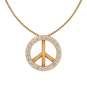The Peace Gold Diamond Kids Pendant