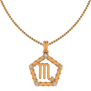 Scorpio Zodiac Sun Sign Gold Diamond Pendant