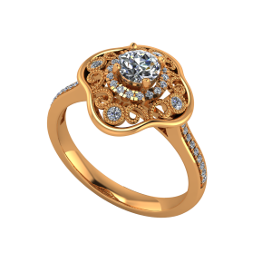 The Majestic Gold Diamond Solitaire Ring