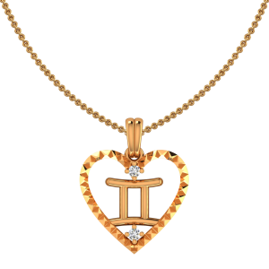 Gemini Zodiac Sun Sign Gold Diamond Pendant