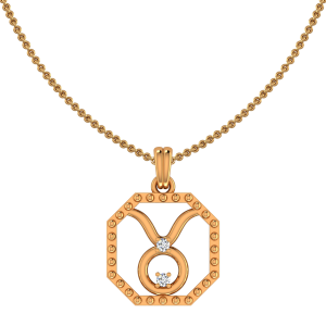 Taurus Zodiac Sun Sign Gold Diamond Pendant