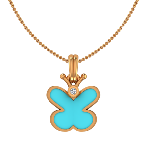 Blu Butterfly Gold Diamond Kids Pendant