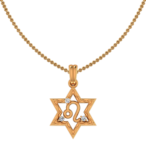 Leo Zodiac Sun Sign Gold Diamond Pendant