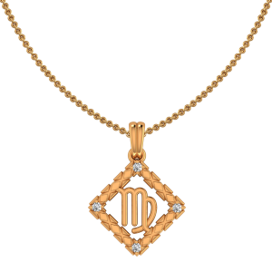 Virgo Zodiac Sun Sign Gold Diamond Pendant