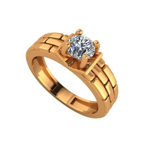 Brick N Solitaire Gold Diamond Men's Solitaire Ring