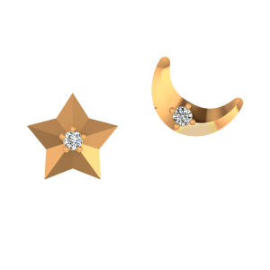 The Star N Moon Gold Diamond Kids Earring
