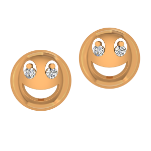 The Smiling Smily Gold Diamond Kids Earring