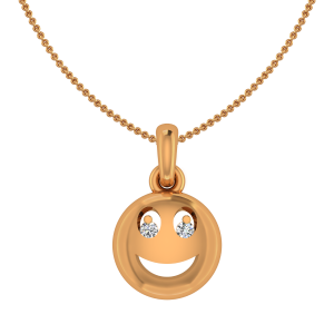 The Smiling Smily Gold Diamond Kids Pendant