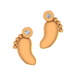 The Baby Feet Gold Diamond Kids Earring