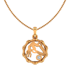 Aquarius Kumbha Zodiac Sun Sign Gold Diamond Pendant