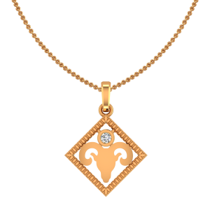 Aries Mesh Zodiac Sun Sign Gold Diamond Pendant