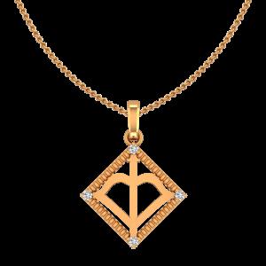 Sagittarius Dhanu Zodiac Sun Sign Gold Diamond Pendant