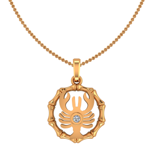 Cancer Karka Zodiac Sun Sign Gold Diamond Pendant