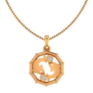 Pisces Meen Zodiac Sun Sign Gold Diamond Pendant