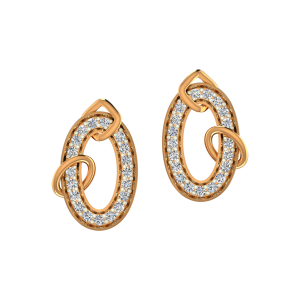 The Oval Flare Gold Diamond Earrings