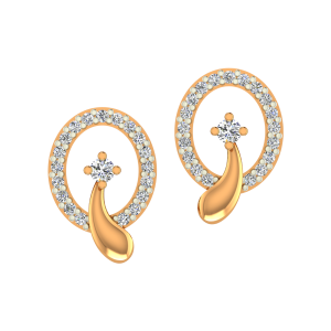 Star Swoosh Gold Diamond Earrings
