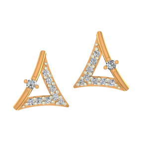 The Triangle Treat Gold Diamond Earrings