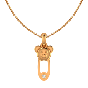 Cute Teddy Bear Gold Diamond Kids Pendant